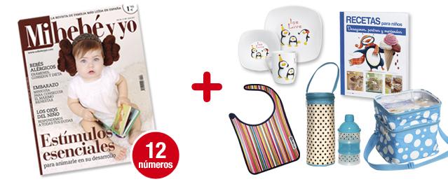 12 números Mi bebé y yo + Nevera <br>+ Vajilla + Recetas + Babero neopreno<br>+ Portabiberón + Dosificador