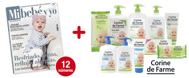 12 números Mi bebé y yo<br>+ Súper pack CORINE DE FARME:<br>10 productos para tu bebé
