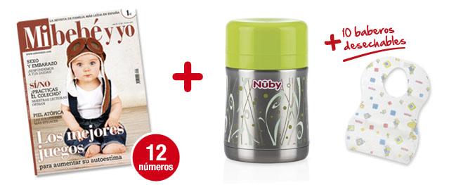 12 números Mi bebé y yo<br>+ Termo de acero inoxidable<br>+ 10 baberos desechables de NUBY