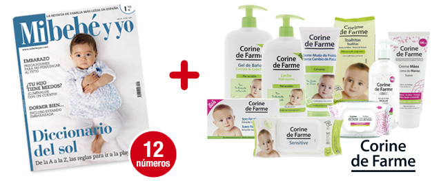 12 números Mi bebé y yo<br>+ Súper pack CORINE DE FARME:<br>9 productos para ti y para tu bebé